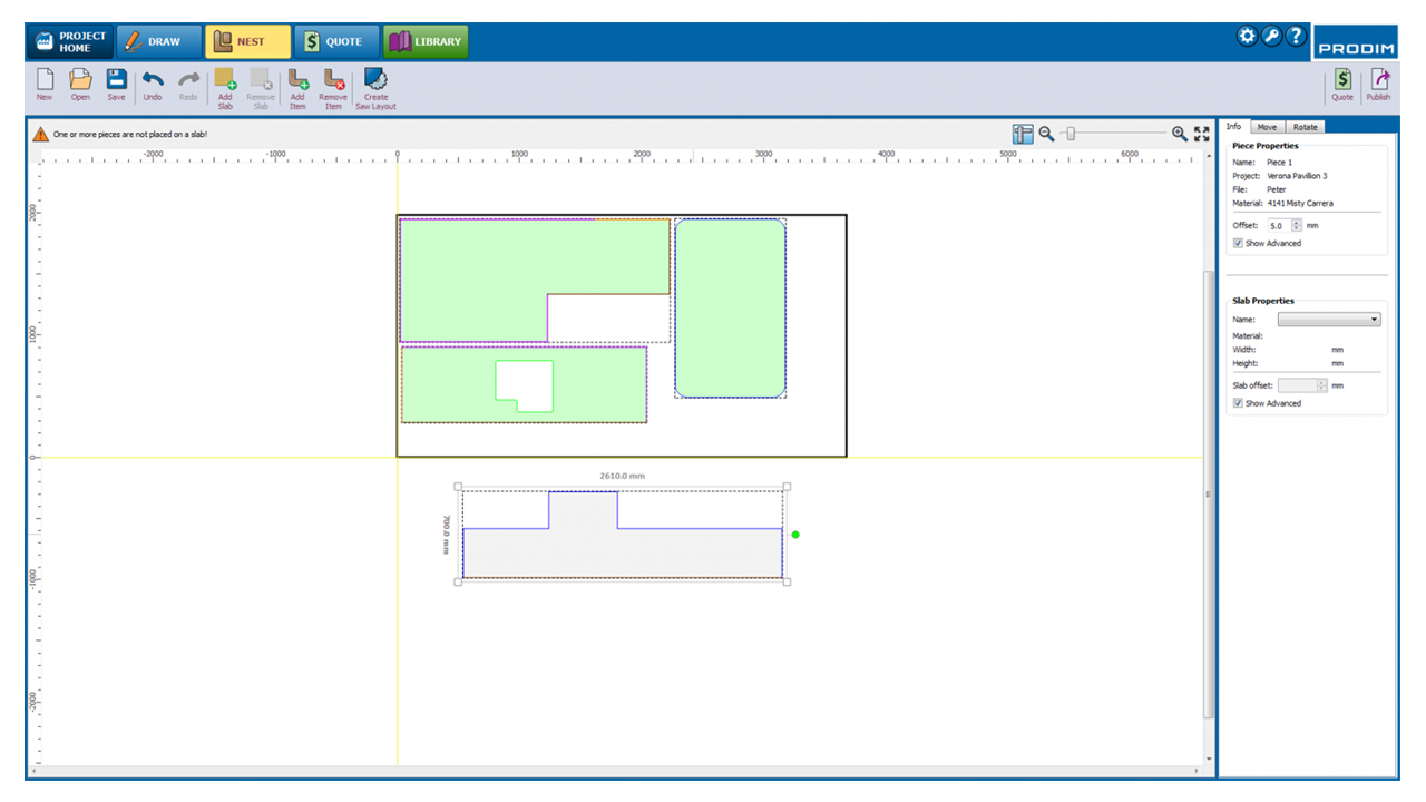 Screenshot - Prodim Factory software - Virtual slab nesting