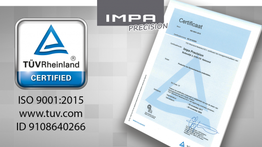 IMPA Precision, part of Prodim Group is now an ISO 9001:2015 certified machining company