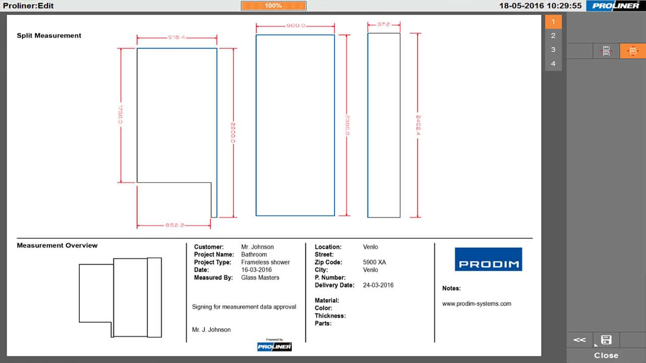 Prodim architectural glass industry solutions - Shower digital template